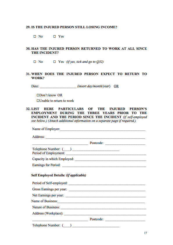 Personal injury claim form template image collections